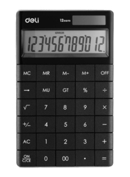 Deli 12 Digits Basic Calculator, Black