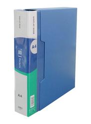 Deli A4 File Folder with 80 Pocket, Blue
