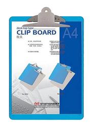 Deli Plastic Clip Board, Blue/Silver