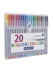 Staedtler 20-Piece Ink-Flow Fineliner Pen Set, Multicolour