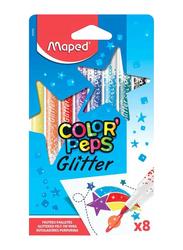 Maped 8-Piece Color'Peps Glitter Felt Tip Pen Set, Multicolour