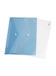 Deli Button File, 10 Pieces, A4 Size, Transparent