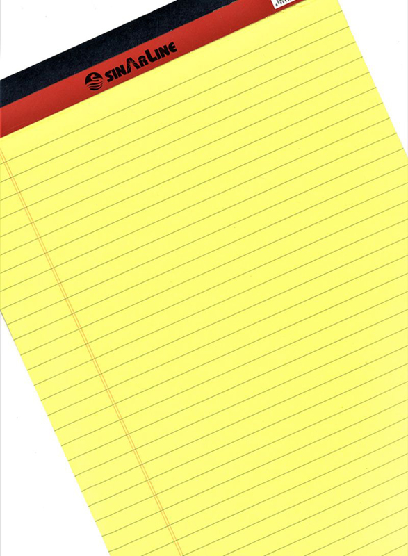 Sinarline Single Line Writing Pad, 50 Pages, A4 Size, Yellow