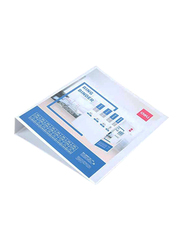 Deli Double Sided D Ring Binder, 410 Sheets Capacity, White/Blue