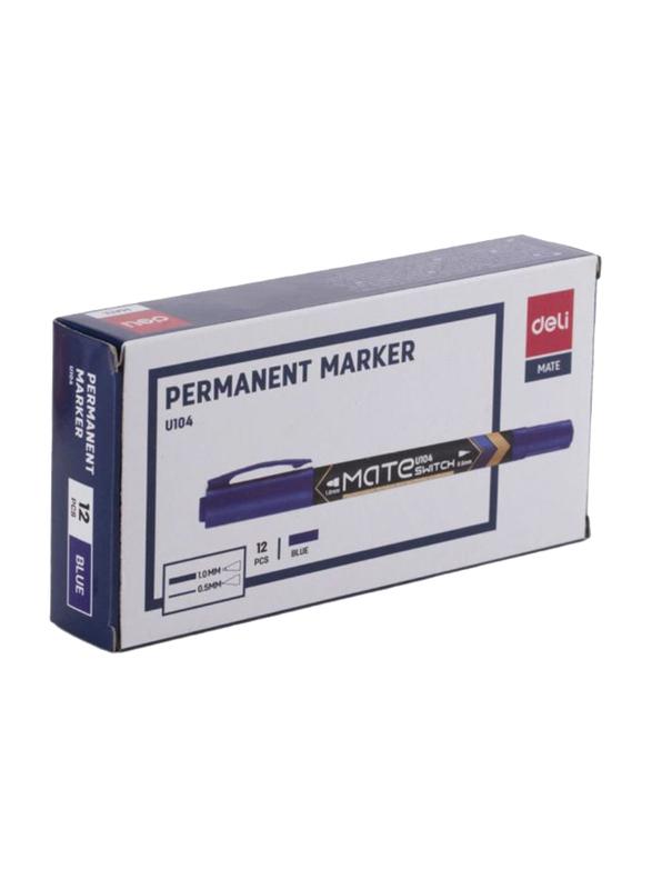 Deli 12-Piece Mate U104 Permanent Marker Set, Blue