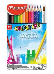 Maped 12-Piece Color'Peps Aqua Metal Box Watercolor Pencil Set, Multicolor