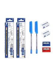 Staedtler 30-Piece Noris Pencil and School Stationery Set, Blue/White/Red