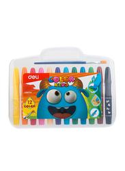 Deli Gel Crayons, 12 Pieces, EC20504, Multicolor
