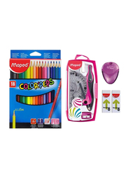 Maped 22-Piece Color Peps School Stationery Set, White/Red/Purple