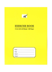 PSI 4-Lined Exercise Notebook, 200 Pages, A5 Size, Yellow