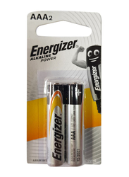 Energizer 2-Piece Alkaline AAA Battery, 1.5Vwatts, Black