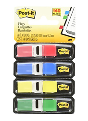 Post-It Index Flags Sticky Notes with Dispenser, 140 Sheets, Multicolor