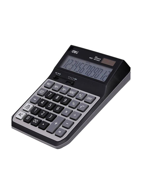 Deli Digit Metal Dual Power Basic Calculator, M007, Black