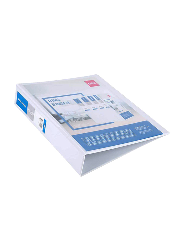 Deli Double Sided D Ring Binder, 225 Sheets Capacity, White/Blue