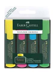 Faber-Castell 4-Piece Textliner 48 Refill Highlighter Set, Yellow/Pink/Blue/Green