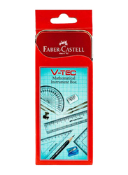 Faber-Castell V-Tec Mathematical Geometry Instrument Box, Red