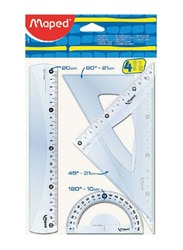 Maped 4-Piece Geometric Ruler Set, Clear