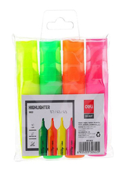 Deli 4-Piece Delight Highlighter Pen Set, ES622, Multicolor
