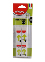Maped 4-Piece Technic 600 Dust Free Eraser Set, White