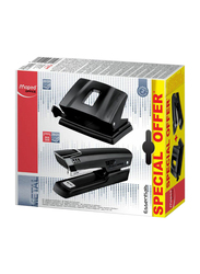 Maped Stapler and Punch Set, 2 Piece, Black