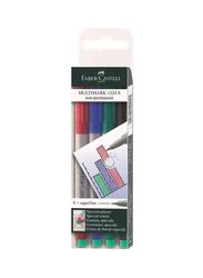 Faber-Castell 4-Piece Multimark 1524 S Marker Pen Set, Multicolour