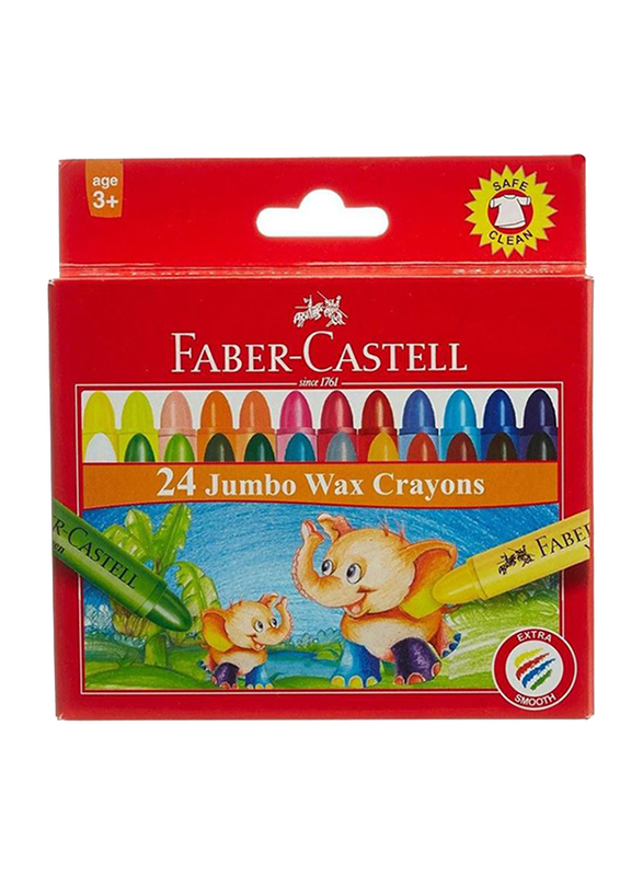 Faber-Castell Jumbo Wax Crayons, 24 Pieces, Multicolor
