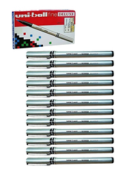 Uniball 12-Piece Fine Deluxe Rollerball Pen Set, Silver/Black