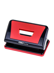 Deli Two Hole Paper Punch, Red/Black