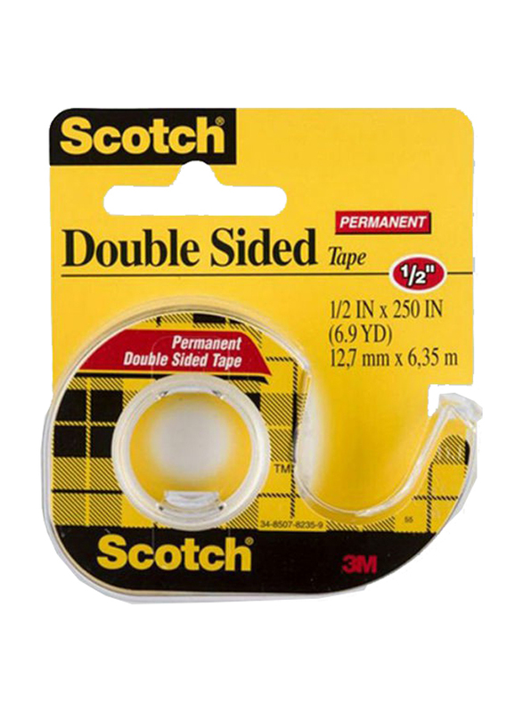 3M Scotch Double Sided Tape Dispenser Rolls, 0.5 x 250 inch, Clear/Yellow