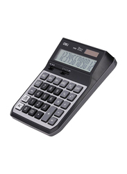 Deli Digit Metal Dual Power Basic Calculator, M008, Black