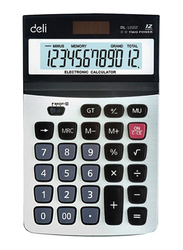 Deli 12-Digit Basic Calculator, Black/White