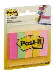 3M Post-It Page Marker Sticky Notes, 1.27 x 4.44cm, 5 x 50 Sheets, Multicolor