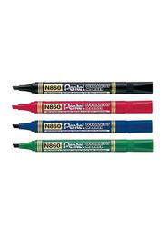 Pentel 4-Piece N860 Chisel Tip Permanent Marker Set, Multicolour