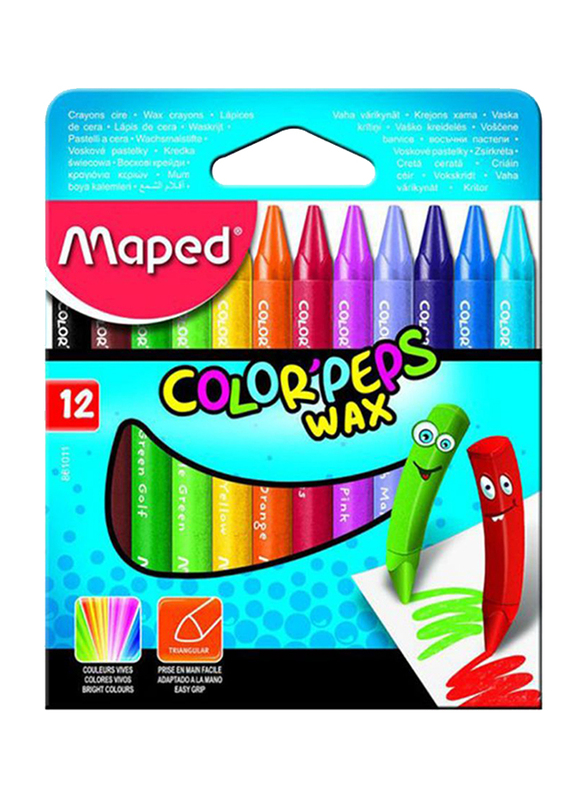 Maped Wax Crayons, 12 Pieces, MD16, Multicolor