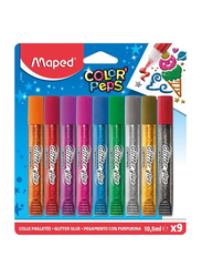 Maped Glitter Glue Set, 9 Pieces x 10.5ml, Multicolor
