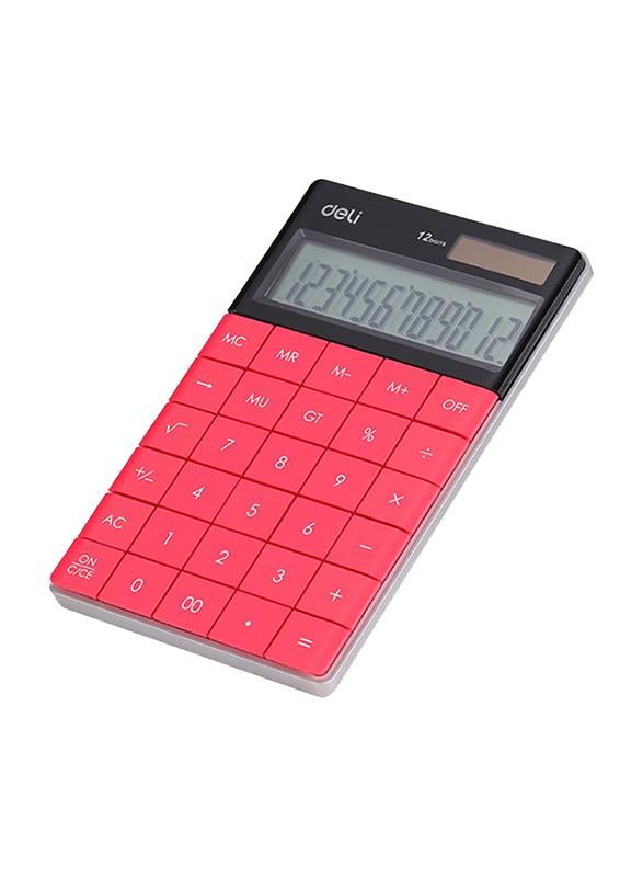 Deli 12-Digit Basic Calculator, Pink/Black
