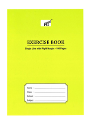 PSI Single Line Right Margin Notebook, 100 Pages, A5 Size, Yellow