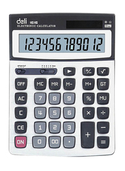 Deli 12-Digit Basic Calculator, White/Black