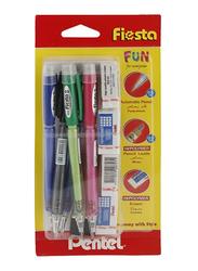 Pentel 10-Piece Fiesta Mechanical Pencil And Eraser Set, Multicolor