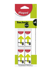 Maped 4-Piece Technic 600 Eraser Set, White