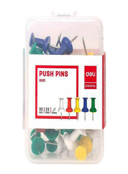 Deli 23mm Essential Push Pin Set, 35 Pieces, Multicolor