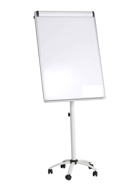 FOS White Magnetic Flip Chart Whiteboard with Stand, White