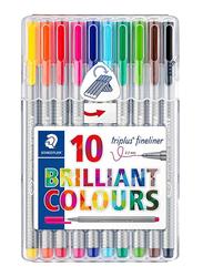 Staedtler 10-Piece Triplus Brilliant Colors Fineliner Pen Set, Multicolor