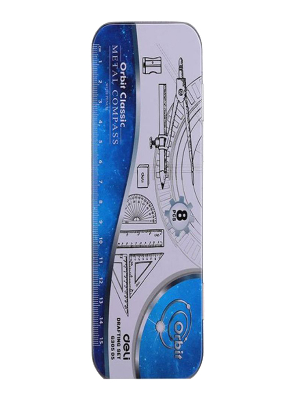 Deli 8-Piece Compass Drafting Set, Clear/Silver/Blue