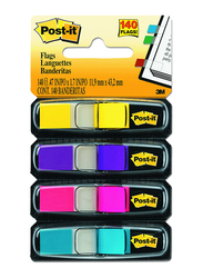 3M Post-It Index Flags Sticky Notes with Dispenser, 1.19 x 4.32cm, 140 Sheets, Multicolor