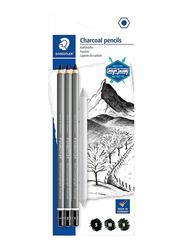 Staedtler 3-Piece Lumograph Charcoal Pencil Set, Black