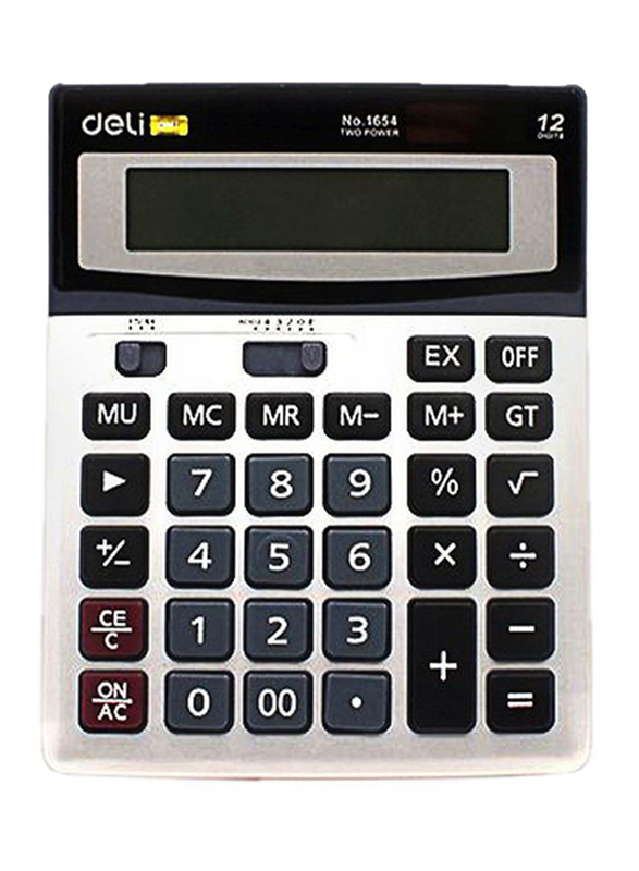 Deli 12-Digit Basic Calculator, White/Black/Grey