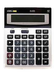 Deli 12-Digit Basic Calculator, White/Black/Grey