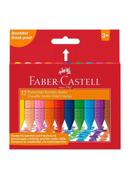 Faber-Castell Jumbo Wax Crayons, 12 Pieces, Multicolour