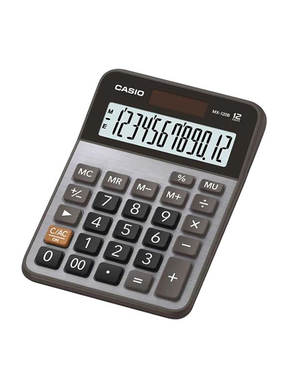 Casio 12-Digit Desktop Calculator, Silver/Grey/Black